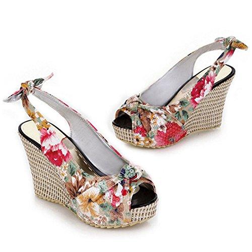 COOLCEPT Damen Mode-Event Schnellverschluss Keilabsatz Slingback Pumps Peep Toe Schuhe White