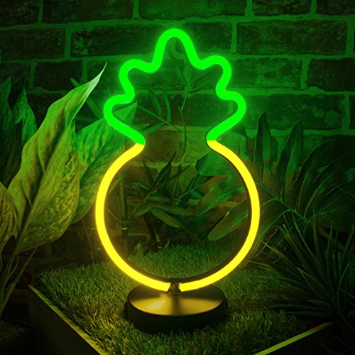LED LUZ DE NEON 30CM CACTUS / PIÑA / FLAMINGO / BATERIAS DE CORAZON AA / 5V DC INDOOR LIGHTS. (PINEAPPLE)