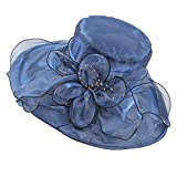 Sidiou Group Damen Strand Sun Hut Brim Hochzeitskleid Kirche Organza Gorras Fedora Trilby Kappe Sun Derby Hut (Blau)