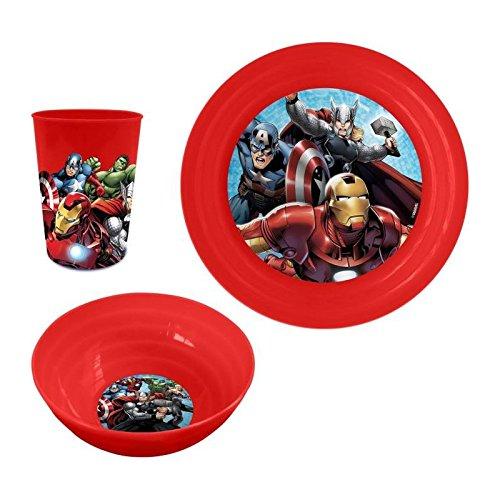 Kinder-Plastik-Dinner Frühstück-Set von Platten-Cup und Bowl Disney Marvel Avengers