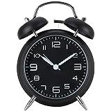 """AKUNSZ 4"""" reloj despertador de doble campana analógico vintage con luz silencioso sin tic tac"""