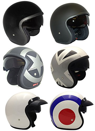 Casco de la Motocicleta Jet Casco Cascos Abiertos VIPER RS-V06 Casco de Moto Con Visera Nuevos Colores (S, Matt Negro Star)