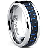 Ultimate Metals Co. Men's Titanium Ring Wedding Engagement Band with Black and Blue Carbon Fiber Inlay, 8mm