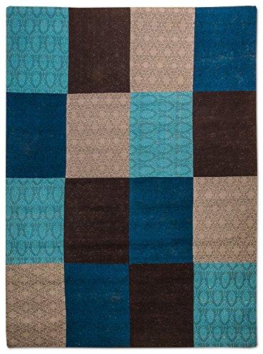 Morgenland Patchwork Teppich WEYS 300 x 200 cm Blau Türkis Jacquard Vintage Bunt Kariert Felder...