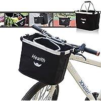 Cesta de Lona Bicicleta, Cesta para Bicicleta,Bicicleta de Gran Capacidad Cesta,Plegable Desmontable Cesta para Extraíble para Porta Mascotas, Bolsa de Compras, Camping al Aire Libre(Negro)