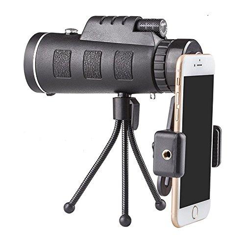 Monokular Zoom Optische Linse Teleskop 40x 60Für Handy mit Clip und Stativ