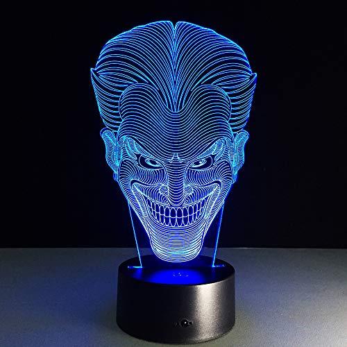 WANGJIA Halloween Kinder Geschenk Jack Lächeln Gesicht 3D Lampe Film Charakter Lachend Joker Schreibtischlampe Mit 7 Farben Nachtlicht Halloween Licht (Lustige Gesichter Halloween Jack)