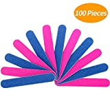 Senkary 100 Stück Nagelfeilen Professionelle Nagelfeilen Doppelseitige Nagelfeilen Einweg Nagelfeile, 180/240 Grit, Blau und Rosa
