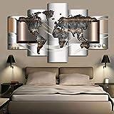 LA VIE 5 Teilig Wandbild Gemälde 3D Karte der Welt Hochwertiger Leinwand Bilder Moderne Kunstdruck als Ölbild für Zuhause Wohnzimmer Schlafzimmer Küche Hotel Büro Geschenk