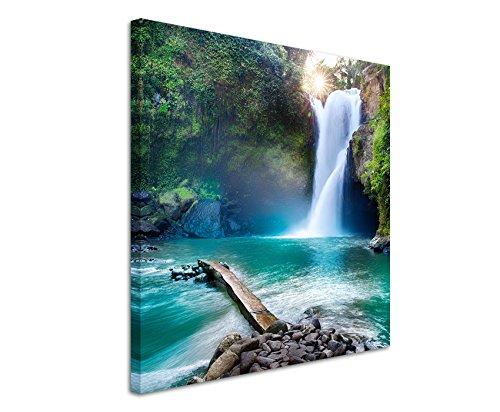 Paul Sinus Art Leinwandbild 60x60cm Landschaftsfotografie - Wasserfall im Regenwald auf Leinwand Exklusives Wandbild Moderne Fotografie für Ihre Wand in Vielen Größen