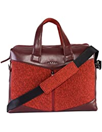 Veuza Trapeze Premium Jacquard And Faux Leather Burgundy Laptop Bag For Macbook/ Macbook Air