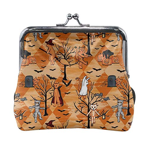 Halloween Cats Multifunctional Portable Leather Coin Purse Phone Pouch Cosmetic Bag,Zippered Wristlets Bag