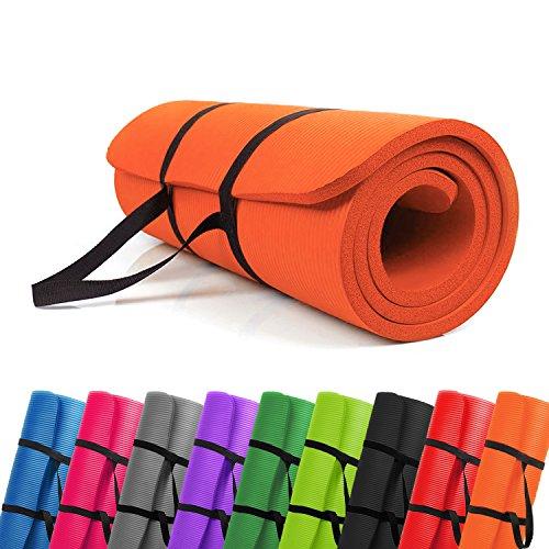 PROMIC Trainingsmatte, Yogamatte, 183 cm x 61 cm x 1,5 cm Pilates Matte, für Yoga, Pilates und andere Trainings zu Hause und Studio, rutschfeste Gymnastikmatte mit Tragegürtel, Orange
