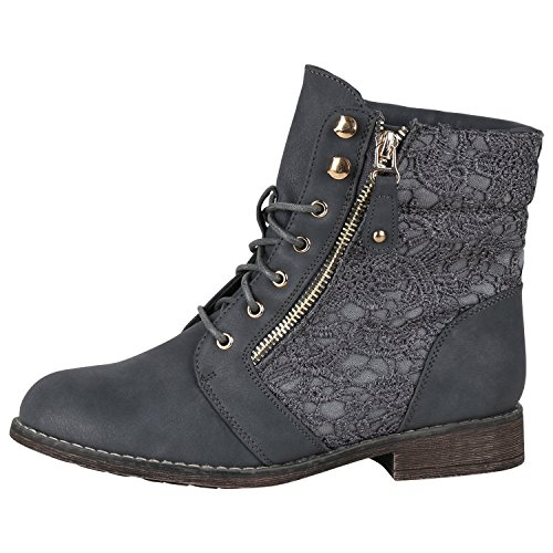 Damen Schnürstiefeletten Stiefeletten Übergrößen Denim Schuhe Prints Leder-Optik Schuhe Spitze Modische Boots Zipper Jennika Grau Spitze Zipper