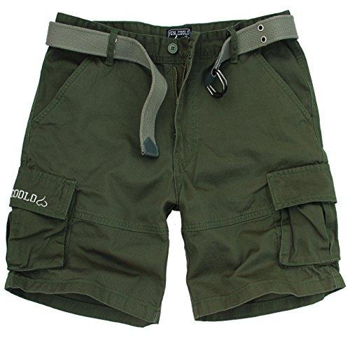 Fun Coolo Pantaloncini corti Bermuda Cargo short con tasconi laterali, con cintura verde XS 44