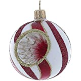 Kurt Adler 63mm Red And White Glass Reflector Ball Ornament Set Of 4
