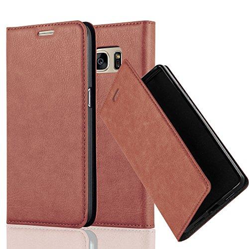 Preisvergleich Produktbild Cadorabo Hülle für Samsung Galaxy S7 - Hülle in Cappuccino BRAUN – Handyhülle mit Magnetverschluss,  Standfunktion und Kartenfach - Case Cover Schutzhülle Etui Tasche Book Klapp Style