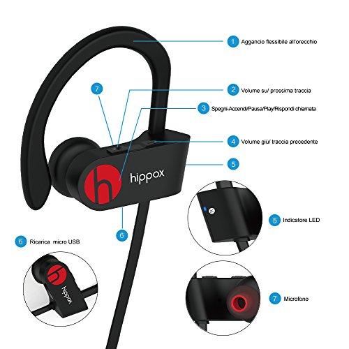 HIPPOX Cuffie Bluetooth Resistente al sudore IPX4 Wireless Auricolari Sportivi con Microfono a prova di rumore per Palestra Corsa e Trekking Compatibile iPhone 7 / Samsung dispositivi Android
