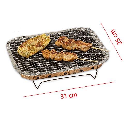 51K09sKA9zL - 4 x Einweggrill Sofortgrill Holzkohlegrill für Camping, Picknicks oder einfach für Ihren Garten