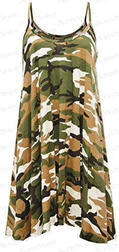 Funky Boutique Jupe Patineus'à bretelles pour femme Mini robe Cami Débardeur Swing : 8-26 Vert - Army Print