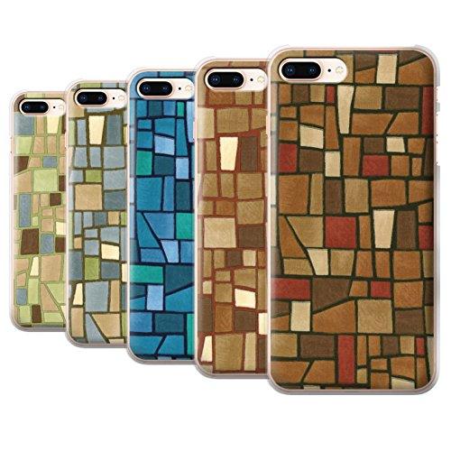 Stuff4 Hülle / Case für Apple iPhone 8 Plus / Grey/White Muster / Mosaik Fliese Kollektion Multipack (9 Pcs)