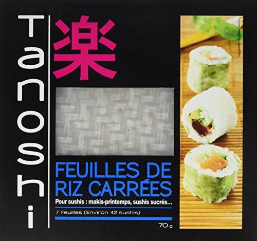 Tanoshi Feuilles de Riz Carrées 70 g - Lot de 10