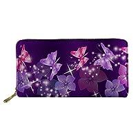 HUGS IDEA Floral Butterfly Women Wallet Travel Purple Clutch Bag Credit Card Long Storage Purse