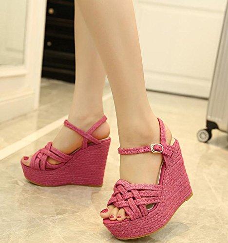 LvYuan Sandali di estate delle donne / tacco ultra sottile sexy / piattaforma impermeabile / intreccio della paglia / tallone di cuneo / fibbia / ufficio & carriera / scarpe romane rose red