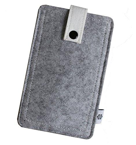 Filz-Tasche in Hell-Grau für Apple Iphone 5 und 5S, Hochwertige Handy-Hülle, Schutz-Cover mit Herausziehband und Drucknopf, reißfestes Schutz-Etui - XS Dealbude24