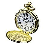 Zeiger vintage orologio da tasca al quarzo classico orologio da taschino con catena per uomo e donna, regalo ideale per compleanni o giorno di Natale Fathers 'Day (oro)
