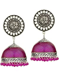 a1c71b412 Peora Rani Pink Color Oxidized Silver Plated Art Work Fashion Meena Jhumki  Earrings For Women Girls