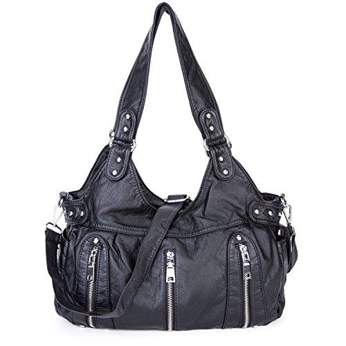 Dame Gewaschene Leder Handtaschen Große weiche Umhängetaschen Crossbody Schultertaschen Reisetaschen Taschen für Frauen - Schwarz (Leder-frauen-handtaschen)