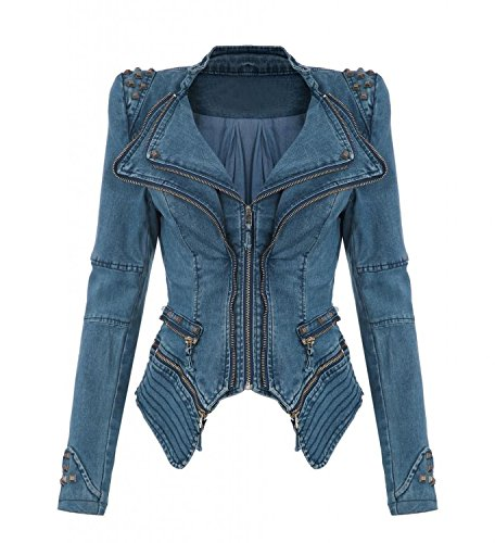 NEU Punk Revers PU Leder Smoking Mantel Blazer Nieten Damen Jacke Biker Studs Spike Schulterpolster Jacket (XL, Blau)