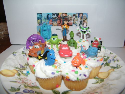 Cake Toppers / Cupcake Party Favor Decorations Set of 12 from Toy Story, Cars, Where's Nemo and Monsters University! by Pixar ()
