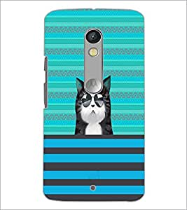 PrintDhaba Cat with Gogs D-2670 Back Case Cover for MOTOROLA MOTO X PLAY (Multi-Coloured)