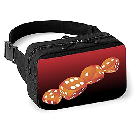 Casino 10002, Pik, Unisex Black Printed Hip Pack Waist Bag Belt Pouch with Fully Adjustable strap and Colourful Design.
