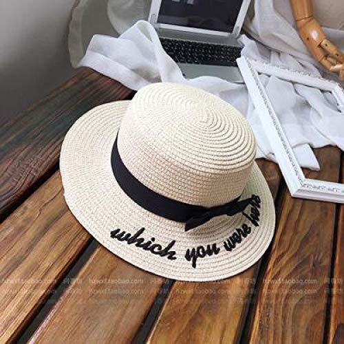 LIWEIL Dame Stickerei Sun Caps Boater Hut Frauen Bogen Sommer Band Runde Bogen Flat Top breiter Krempe Strohhut Frauen Hut