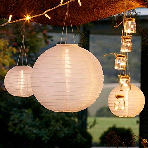 Lights4fun 6er Set Solar Lampions Solar Laterne weiß