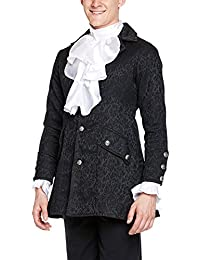 Victorian Gothic Medieval Mens Brocade Frock Coat, Black