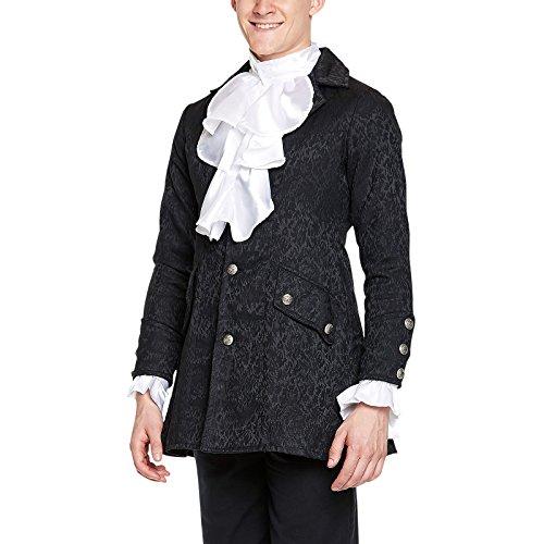 Medieval atuendo brocado levita negro, traje noble, carnaval - XL