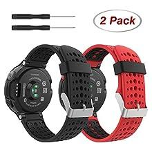 MoKo Bracelet Compatible avec Garmin Forerunner 235 235 Lite 220 230 620 630 735, Montre de Remplacement de Silicone Bracelet Noir,Noir+Rouge,Noir