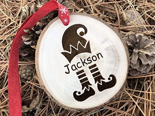 GFFVVVDDDRR GFFVVDDDRR Holz-Weihnachtsdekoration Elfe Kinder Name personalisiertes Geschenk Holz Scheiben Elf Ohren Elf Kostüm Elf Film Buddy Will Frell ()