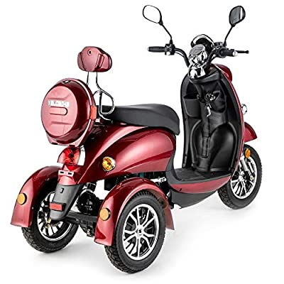 VELECO 3 Wheeled Retro Italian Style Electric Mobility Scooter 650W ZT63 RED