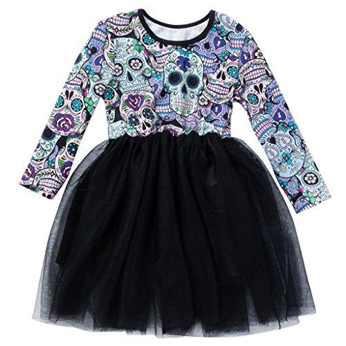 Mädchen Prinzessin Tutu Kleid - Kinder Halloween Kleid Baby Cosplay Party Rock Totenkopf Kleid Monster Kostüm Langarm Kleid Bodysuit (Halloween Kostüme Ideen Für Drei)
