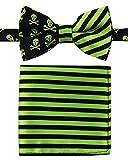 Pajarita infantil de Canacana con nudo integrado, diseño de calaveras y rayas, con pañuelo de bolsillo Verde Green and Black 24 Meses - 4 Años