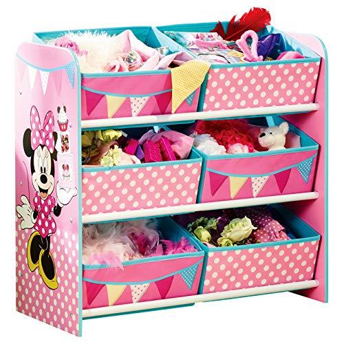 TW24 Aufbewahrungsregal - Spielzeugkiste - Spielzeugtruhe - Disney Regal 6 Boxen mit Motivauswahl (Minnie Mouse)
