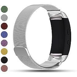 Correa de repuesto iFeeker con cierre magnético, malla milanesa de acero inoxidable para reloj inteligente Samsung Gear Fit2/Gear Fit 2 Pro, color plata