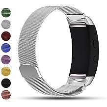 Samsung Gear FIT2/Gear Fit 2Pro Smart Watch Reemplazo Banda, ifeeker accesorios cierre magnético acero inoxidable Milanese Loop Metal Reemplazo Correa de reloj pulsera correa de muñeca para Samsung Gear FIT2sm-r360y Gear Fit 2Pro Smartwatch, color plata