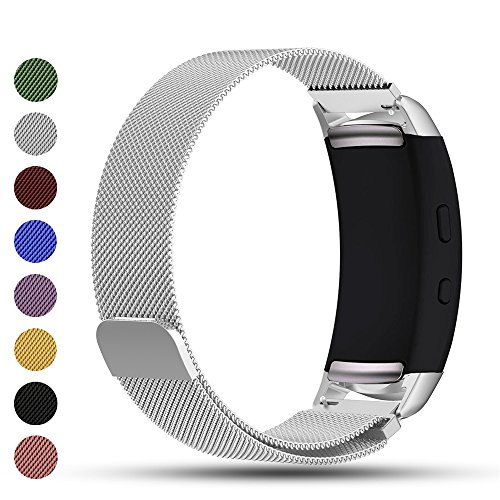 Samsung Gear Fit2 / Gear Fit 2 PRO Smart Uhr Ersatzband, iFeeker Zubehör Magnetverschluss Edelstahl Milanese Loop Metall Ersatz Armband Handschlaufe für Samsung Gear Fit2 SM-R360 und Gear Fit 2 PRO Smartwatch (Original Classic Khaki)