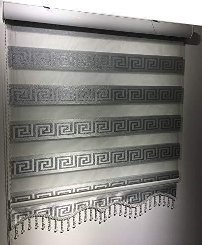Store Enrouleur Duo Zèbre Perde Blanc/Argent Versage - Store plissé Aluminium, Blanc/argenté, 200 x 200 cm (Wxh)
